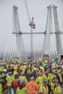 May 1, 2017 - The main span towers were completed thanks to the efforts of hundreds men and women on the New NY Bridge project.