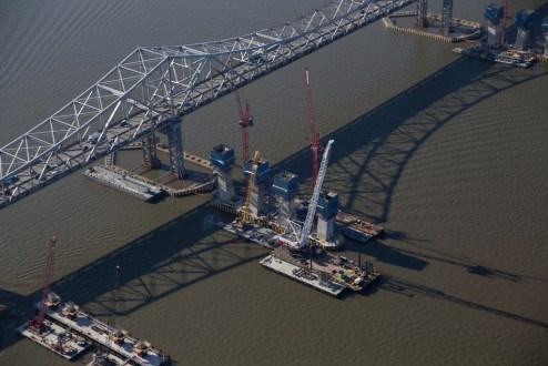 November 16, 2015 - The new bridge's towers begin to rise.