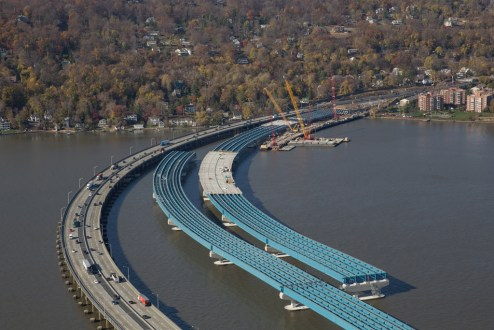 November 16, 2015 - An aerial view of the first section of the new bridge's road deck.