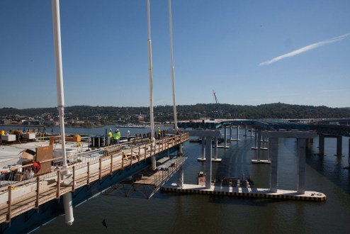 September 14, 2016 - The new bridge's stay cables support the main span roadway.
