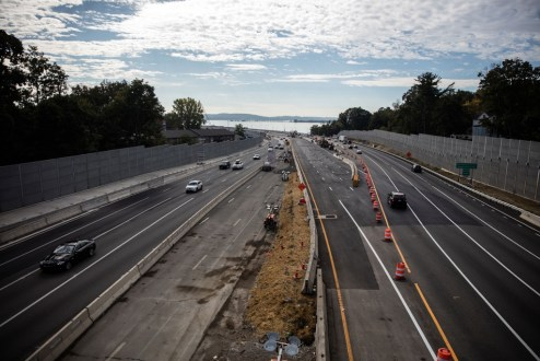 October 6, 2017 - The Rockland landing is prepared for a new traffic shift that will move eastbound lanes to the new bridge.