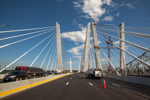 October 6, 2017 - The first span of the Governor Mario M. Cuomo Bridge is prepared to carry four westbound and four eastbound traffic lanes.