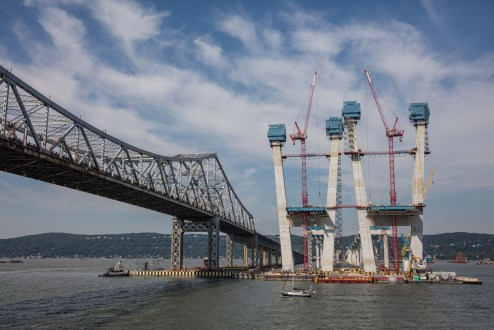 August 25, 2016 - The iconic main span towers continue to grow to their final height, 419 feet above the Hudson River.