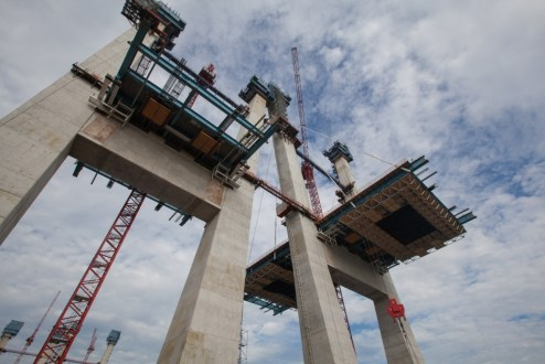 September 9, 2016 - The main span roadway is built out from the bridge's iconic towers.