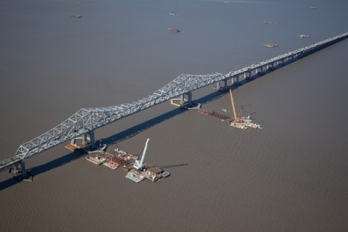 May 2014 - Aerial View of Main Span Pile Installation