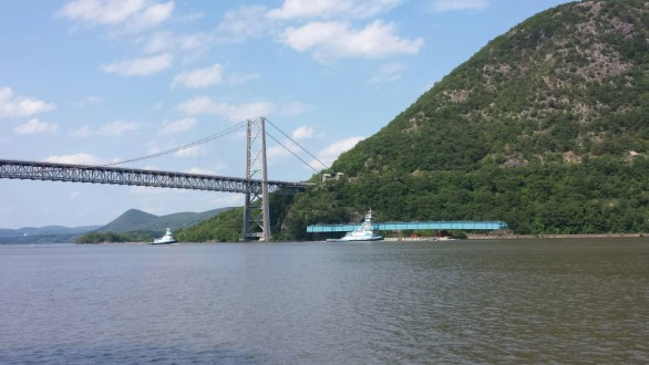 June 10, 2015 - The project's first steel girder assembly passing the Bear Mountain Bridge in Stony Point, NY.