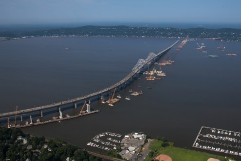 July 2015 - An aerial view of the New NY Bridge project site from Westchester County.
