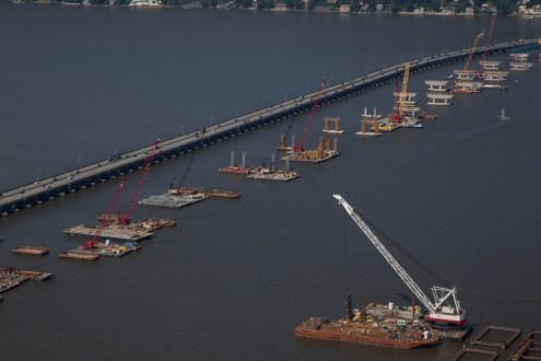 July 2015 - The new bridge's approach span piers rise out of the Hudson River.