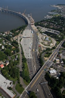 July 2015 - An aerial view of the existing bridge's toll plaza in Tarrytown, near the Westchester landing of the new bridge.