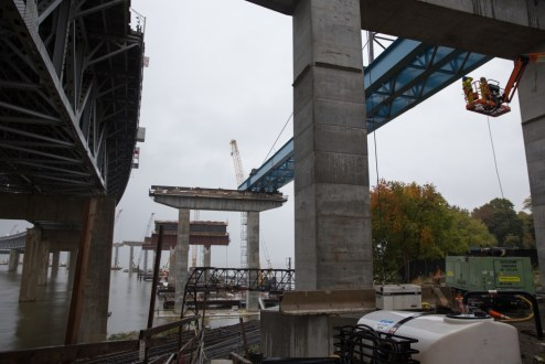 October 28, 2015 - A massive girder assembly is successfully installed over the Metro-North Railroad Hudson Line.