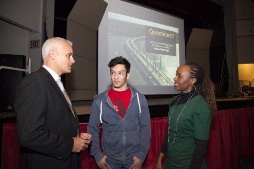 February 12, 2014 - Brian Conybeare speaks to student and Assistant Principal Tracy Smith of Nyack High School about the New NY Bridge