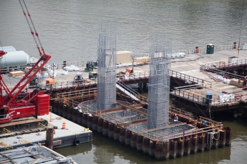 September 5, 2014 - The rebar for the first pair of pier columns rises out of an approach span pile cap.