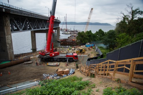 September 11, 2014 - Preparing pier 43, part of the Westchester landing of the new bridge.