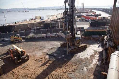 December 4, 2014 - A high-energy ram compacts aggregate into the earth at the Rockland abutment