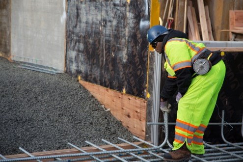January 20, 2015 - Rebar is carefully arranged according to project specifications at the Rockland landing's northern
