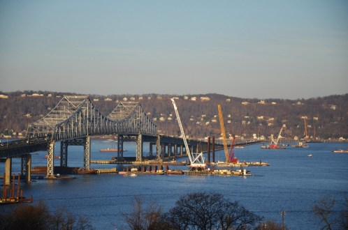 April 2015 - The new bridge's foundations mark the path to the future alongside the existing Tappan Zee Bridge. Over 1000 foundation piles will be installed before the project is completed in 2018.
