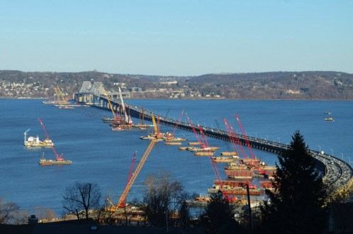 April 2015 - The view from the Rockland County mountainside shows the footprint of the new bridge. These foundations will soon be filled with steel-reinforced concrete to create solid bases for the twin spans.