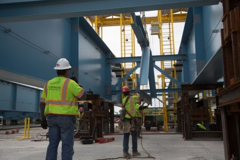 May 21, 2015 - Crews assemble the new bridge's steel girders at the Port of Coeymans in upstate New York.
