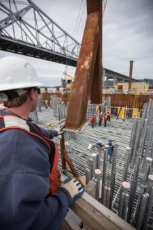 June 4, 2015 - A supervisor oversees the development of the new bridge's foundations.