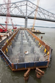 June 4, 2015 - The new bridge's main span foundations are reinforced with cages of galvanized steel.