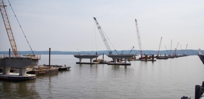 June 12, 2015 - The new bridge's piers stretch out beyond the Rockland shore.