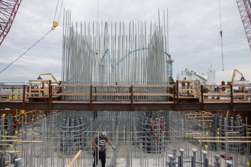June 30, 2015 - A towering arrangement of galvanized steel stands above one of the new bridge's main span pile caps.