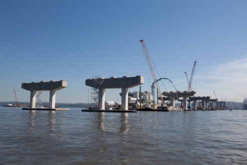 September 17, 2015 - Crews create the new bridge's piers across the Hudson River.