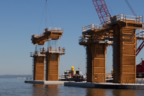 September 17, 2015 - New piers are cast in place with steel-reinforced concrete.