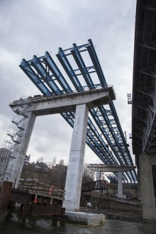 December 3, 2015 - Girder assemblies installed above the Westchester shoreline.