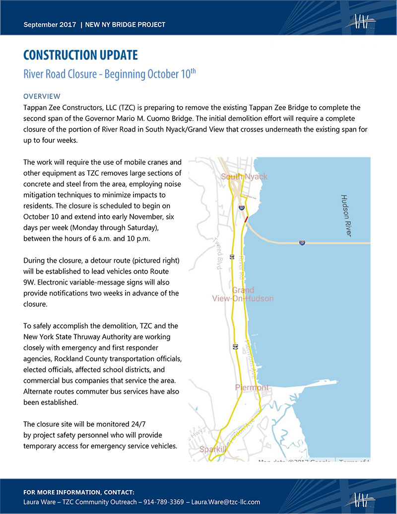 River Road Closure Fact Sheet