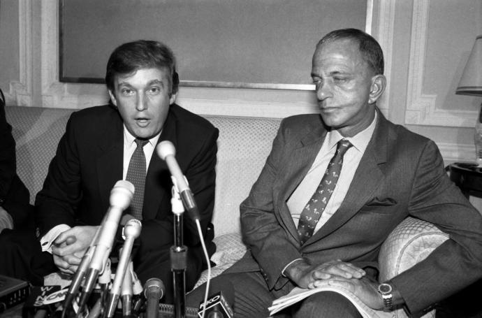 Donald Trump and Roy Cohn in October, 1984. Many of Trump's private conversations with his late mentor were eavesdropped on by Cohn's longtime switchboard operator and courier.