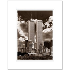 World Trade Center and Staue of Liberty New York City Sepia WTCS004 MW1620