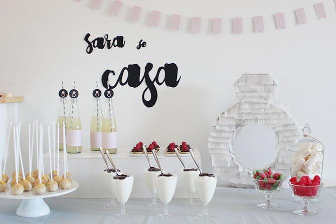 Decoración mesa de dulces para despedida de soltera