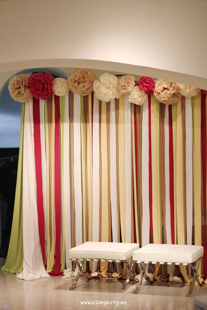 Nice Party fondo decorativo para boda con cintas de tela y pompones