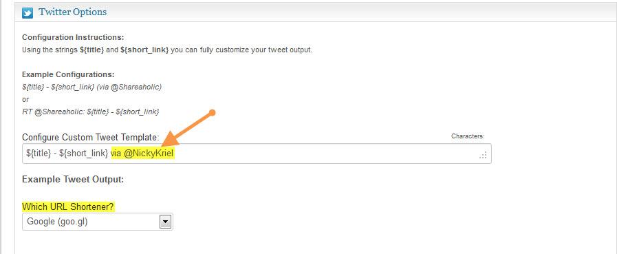 Retweet configure