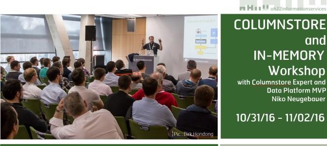 Columnstore & Memory-Optimised Workshop in Redmond (10.31-11.02 2016)