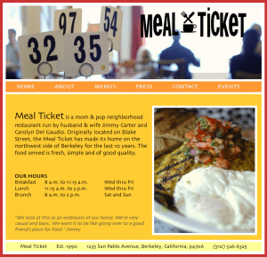 mealticketrestaurant.com home page