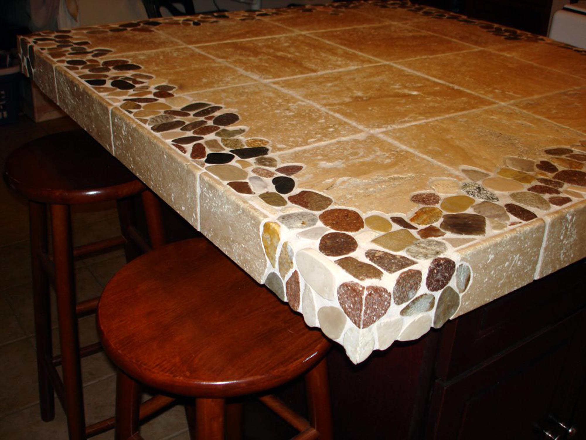 riverstone and travertine custom kitchen island countertop kitchen island countertop Riverstone and Travertine custom 4 x4 kitchen island countertop New Jersey Custom Tile