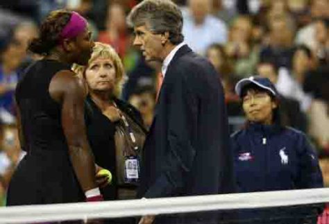 NEW YORK - SEPTEMBER 12:  Serena Williams (L) argues with Brian Early (R) and Donna Kelso (C) after disqualified for a default during the Women's Singles Semifinal match against to Kim Clijsters of Belgium on day thirteen of the 2009 U.S. Open at the USTA Billie Jean King National Tennis Center on September 12, 2009 in the Flushing neighborhood of the Queens borough of New York City.  (Photo by Julian Finney/Getty Images)