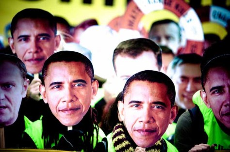 Obama masks Faces of climate change photo