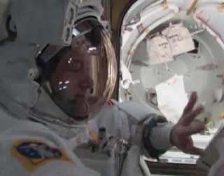 STS130 EVA1 320 Space Walkers Install Tranquility Module short video photo