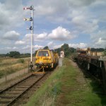 A view of the tamper in action at Pitsford Sidings, during an engineering possession.
