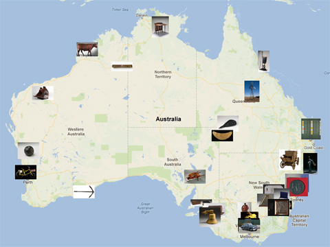 Places across Australia   National Museum of Australia Map of Australia indicating places and objects featured in the Landmarks  gallery