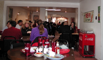 Everyone congregates at Barelas Coffee House.