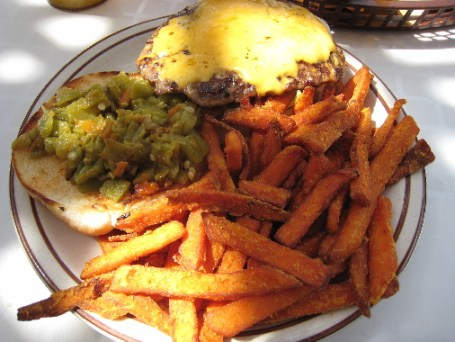 The famous Monroe's green chile cheeseburger