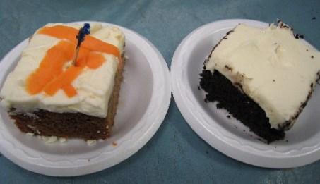 Carrot cake and chocolate cake