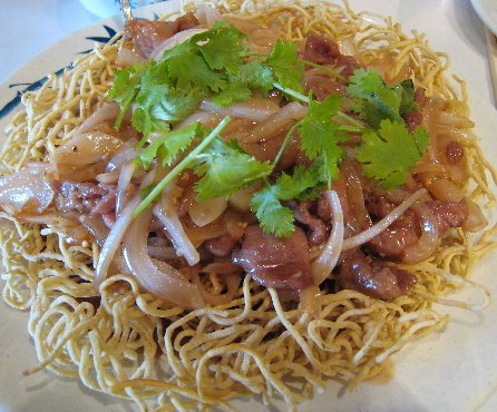 crispy noodles with beef and vegetables.