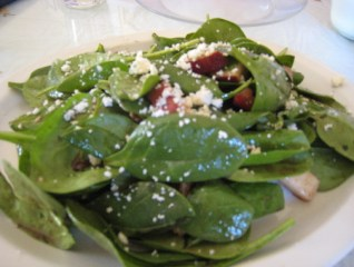 Spinach with warm bacon drssing and much more...