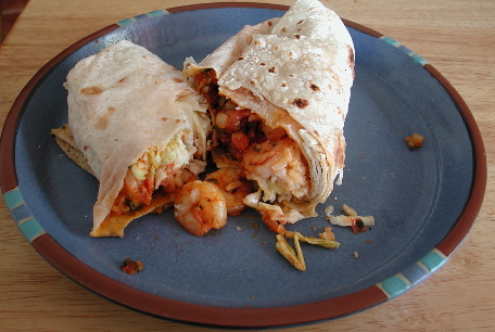 The shrimp burrito weighs in at about one pound.