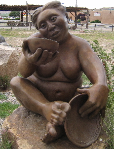 A bronze sculpture by Roxanne Swentzell